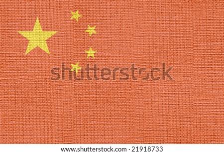 flag of china canvas - stock photo