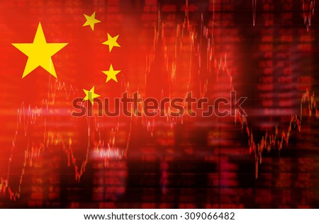 Flag of China. Downtrend stock data diagram - stock photo