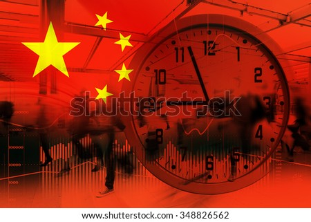 Flag of China. Stock market trend diagram. - stock photo