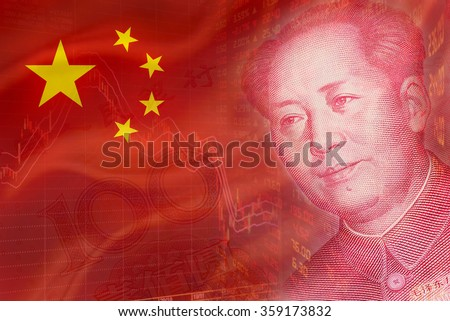 Flag of China with a downtrend chart of financial instruments, a display of daily stock market price quotations and the face of Mao Zedong on RMB (Yuan) 100 bill. - stock photo