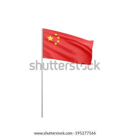 Flag of China  with flag pole waving in wind on white background - stock photo