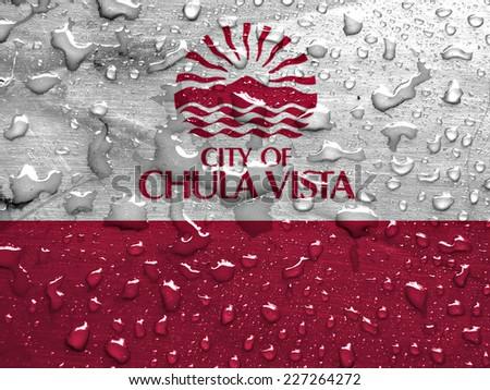 flag of Chula Vista with rain drops - stock photo