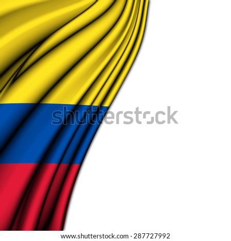 Flag of Colombia , in silk  with folded soft waves to make room at the white background - stock photo