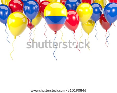 Flag of colombia, with balloons frame isolated on white. 3D illustration