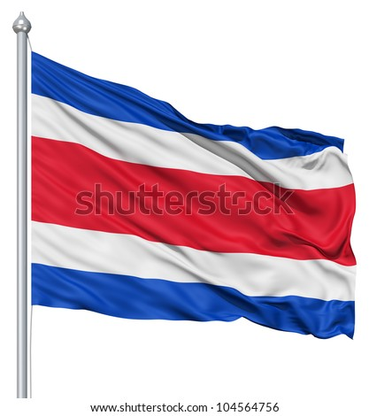 Flag of Costa Rica with flagpole waving in the wind against white background