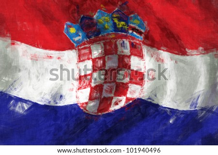 Flag of Croatia abstract painting background - stock photo