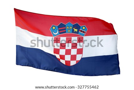 Flag of Croatia, isolated on white background - stock photo