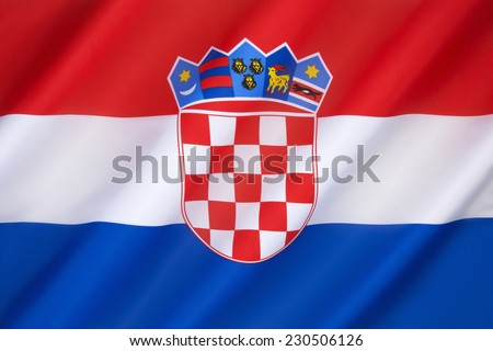 Flag of Croatia - The flag combines the colors of the flags of the Kingdom of Croatia (red and white), the Kingdom of Slavonia (white and blue) and the Kingdom of Dalmatia (red and blue).  - stock photo