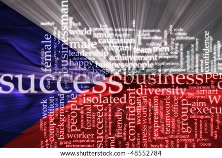 Flag of Czechoslovakia, national symbol illustration clipart wavy business success concept
