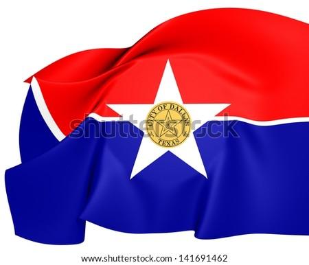 Flag of Dallas, USA. Close Up. - stock photo