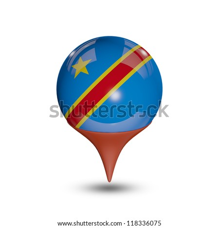 Flag of Democratic Republic of the Congo  pin isolated on white.