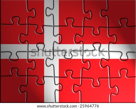 Flag of Denmark, national country symbol illustration