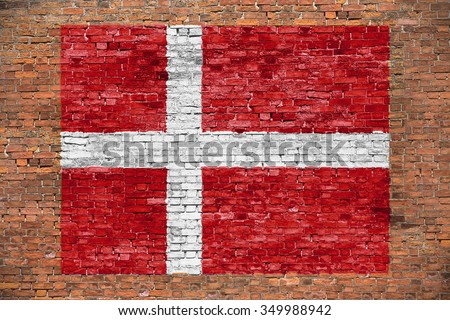 Flag of Denmark painted on old brick wall - stock photo