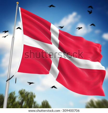 Flag of Denmark , This is a computer generated and 3d rendered image.