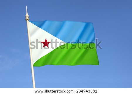 Flag of Djibouti - adopted on 27th June 1977, following the country's independence from France. The light blue represents the Issa Somalis, green represents the Afars. Located in the Horn of Africa. - stock photo