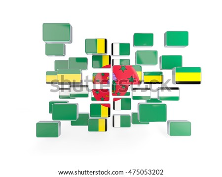 Flag of dominica, mosaic background. 3D illustration