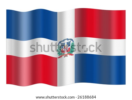 Flag of Dominican Republic. Illustration over white background