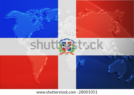 Flag of Dominican Republic, national country symbol illustration with world map, metallic embossed look - stock photo