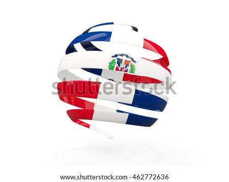 Flag of dominican republic, round icon isolated on white. 3D illustration