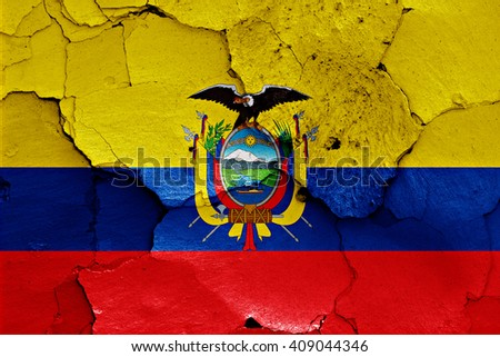 flag of Ecuador painted on cracked wall - stock photo