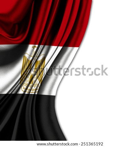 FLAG OF EGYPT CURTAIN WITH WAVES  - stock photo