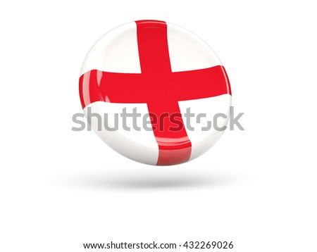 Flag of england, round icon. 3D illustration
