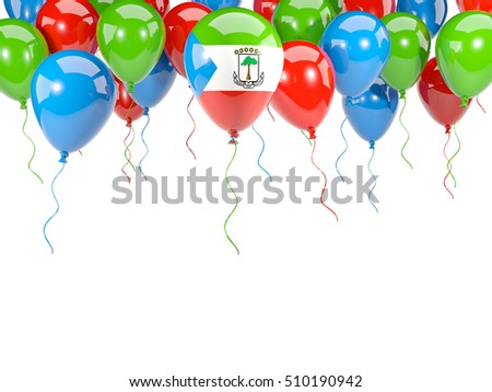 Flag of equatorial guinea, with balloons frame isolated on white. 3D illustration