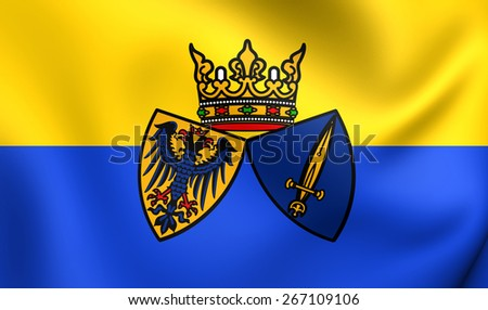 Flag of Essen, Germany. Close Up.    - stock photo