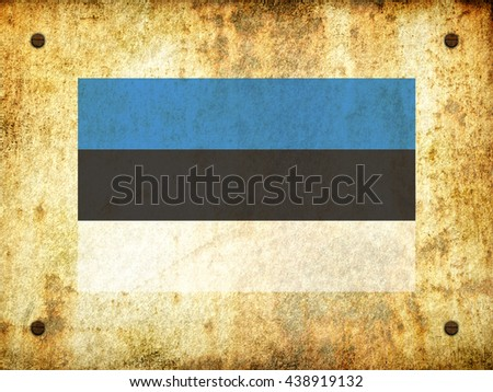 Flag of Estonia painted on a rusty plate with screws, aged by time-3d illustration - stock photo