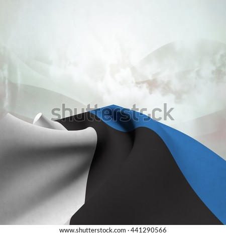 Flag of Estonia silky,  fantastic close up shot ,masterfully folded  and resting on an abstract background-3d rendering - stock photo