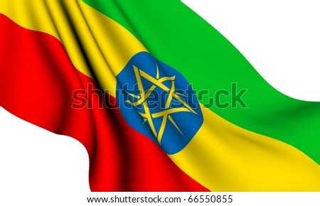 Flag of Ethiopia against white background. Close up. - stock photo