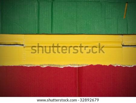 Flag of Ethiopia  made with corrugated cardboard - stock photo