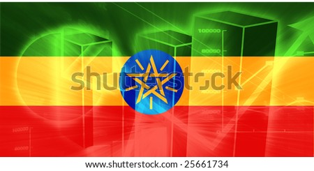 Flag of Ethiopia, national country symbol illustration