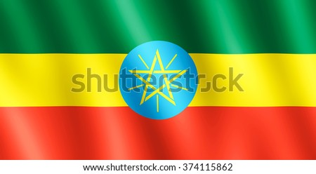 Flag of Ethiopia waving in the wind giving an undulating texture of folds in the fabric. The Image is in the official ratio of the flag - 1:2. - stock photo