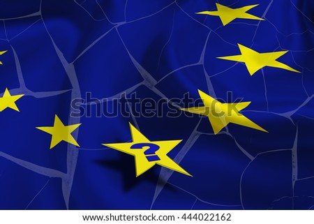 Flag of EU and yellow stars on a cracked wall with a star contain a question mark. A symbol of uncertainty in the European Union after UK vote leave and would be a political contagion to other country