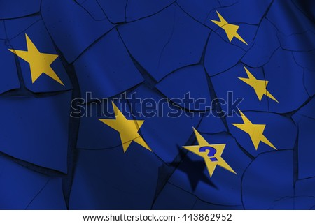 "Flag of EU with 12 yellow stars on a cracked wall after Brexit with a question ""Who will be the next?"" The consequences, challenges and opportunities facing Britain outside the European Union. - stock photo"