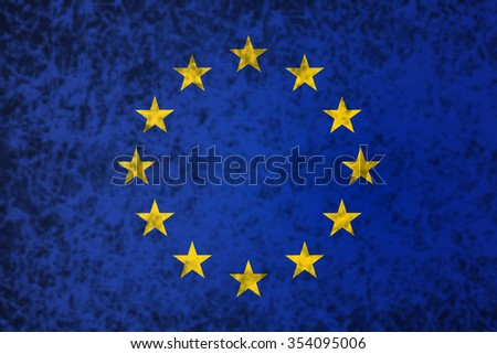 Flag of Europe in grunge style.