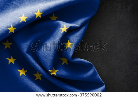 Flag of Europe on blackboard background - stock photo