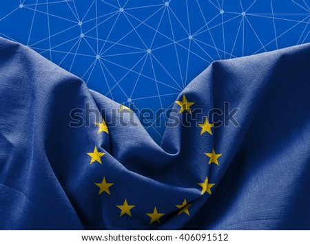 Flag of Europe on connections background - stock photo