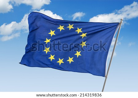 flag of europe union closeup - stock photo