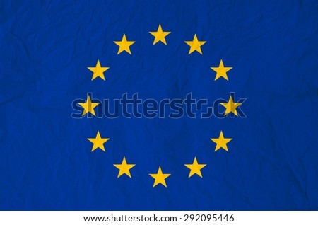 Flag of Europe with old vintage paper texture - Council of Europe