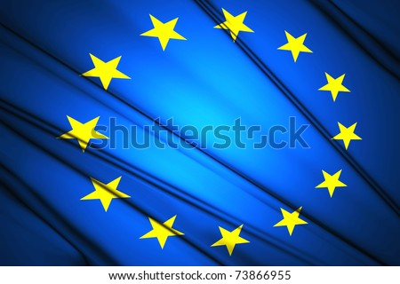 Flag of European Nation lit by sunlight in the background - stock photo