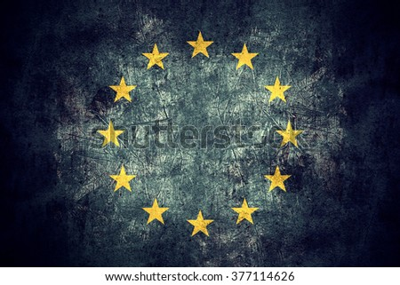 flag of European Union or Europe banner on rough pattern texture vintage background