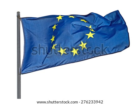 Flag of European Union over white background