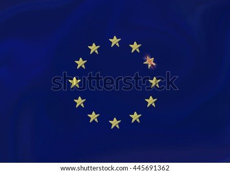Flag of European Union with the Great Britain Flag in one of Stars (Brexit)