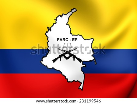 Flag of FARC-EP. Close Up.    - stock photo