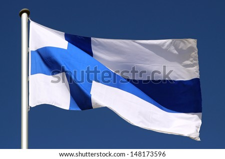 Flag of Finland in the Sun - stock photo
