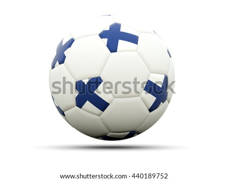 Flag of finland on football, isolated on white. 3D illustration - stock photo