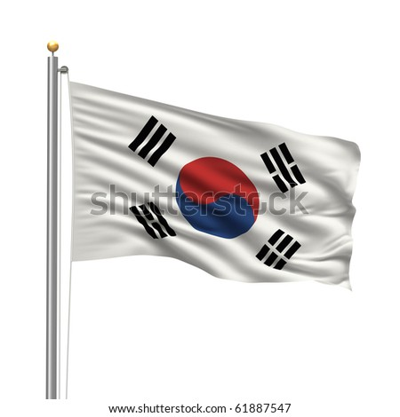 Flag of Flag of South Korea with flag pole waving in the wind over white background - stock photo