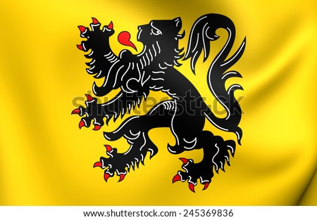 Flag of Flanders. Close Up.   - stock photo